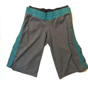 Lululemon Gray & Teal Double Waist Band shorts, 6